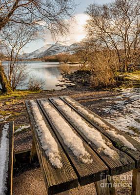 Llanberis Photograph - Winter Bench  by Adrian Evans