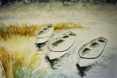 Dingy Painting - Winter Boats In Watercolor by Gray  Artus