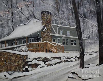 Winter - Cabin - In The Woods Original by Jan Dappen