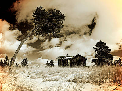 Old West Photograph - Winter Cabin by Leland D Howard