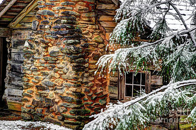 Old Log Cabin Photograph - Winter Cabin by Michael Eingle