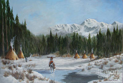 Snowscape Mixed Media - Winter Camp			 by Phyllis Howard