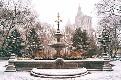 Winter - City Hall Fountain - New York City Print by Vivienne Gucwa