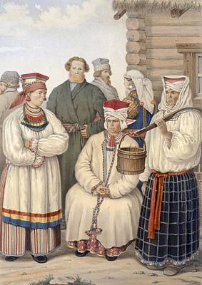 Clothes Clothing Drawing - Winter Costume Of A Family Of Notable by S. Pavloff
