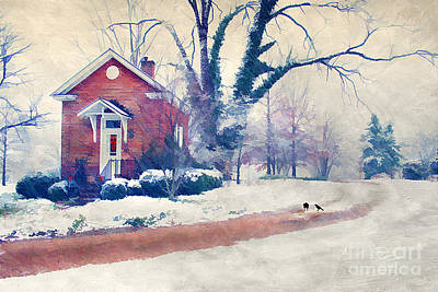 Cute Tree Images Photograph - Winter Cottage by Darren Fisher