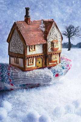 Winter Cottage In Gloved Hand Print by Amanda Elwell