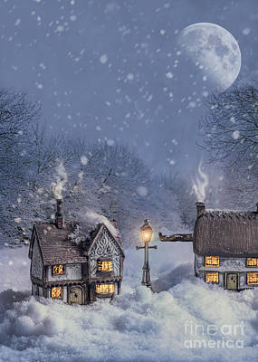 Winter Cottages Print by Amanda Elwell