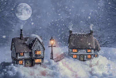 Winter Cottages In Snow Print by Amanda Elwell