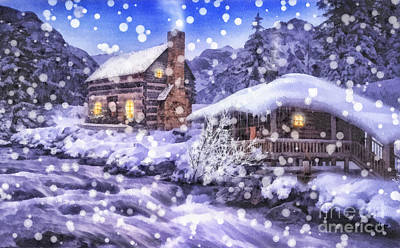 Snowy Night Painting - Winter Creek by Mo T