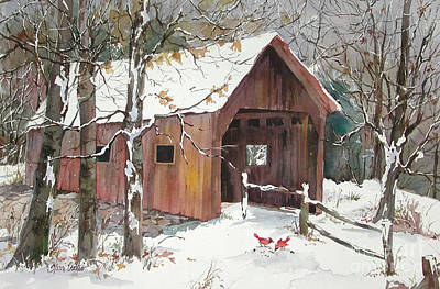 New England Snow Scene Painting - Winter Crossing by Sherri Crabtree
