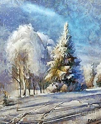 Snow Painting - Winter Day by Dragica  Micki Fortuna