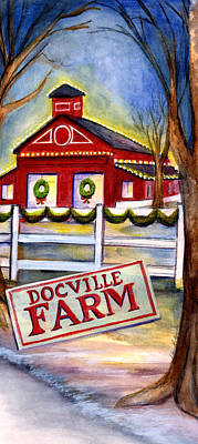 Wreath Painting - Winter Docville Farm by Elaine Hodges