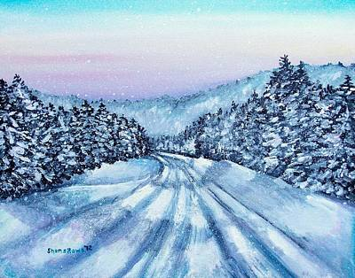 Snowscape Painting - Winter Drive by Shana Rowe Jackson