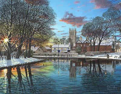 Realist Painting - Winter Evening Tickhill Yorkshire by Richard Harpum