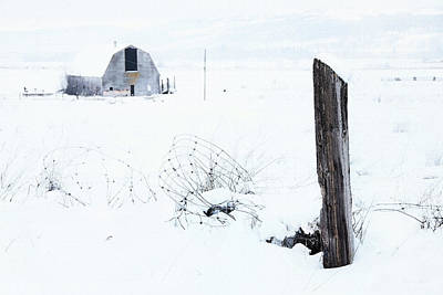Canadian Photograph - Winter Fence With Barn by Theresa Tahara