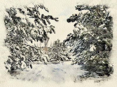 Excellent Christmas Gifts Digital Art - Winter Forest Landscape 10 by Yury Malkov