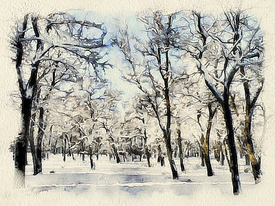 Excellent Christmas Gifts Digital Art - Winter Forest Landscape 11 by Yury Malkov