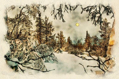 Excellent Christmas Gifts Digital Art - Winter Forest Landscape 2 by Yury Malkov