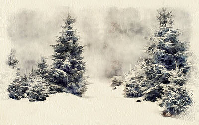 Excellent Christmas Gifts Digital Art - Winter Forest Landscape 4 by Yury Malkov