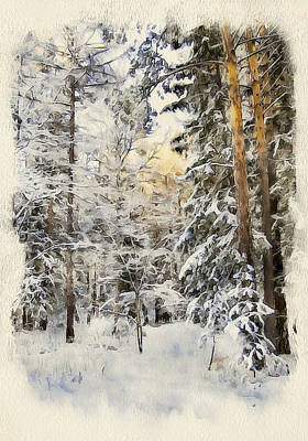 Building Exterior Digital Art - Winter Forest Landscape 44 by Yury Malkov