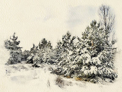 Excellent Christmas Gifts Digital Art - Winter Forest Landscape 9 by Yury Malkov