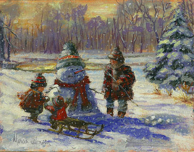 Snowball Fights Painting - Winter Friend by Marcia Johnson