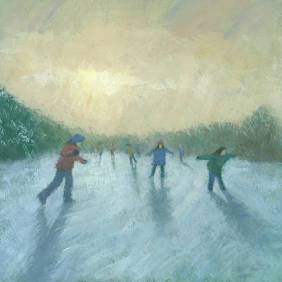 Winter Trees Painting - Winter Games by Steve Mitchell