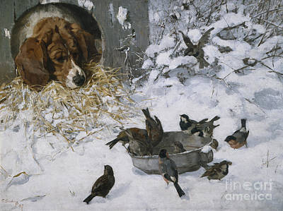 Meal Painting - Winter Guests by Elisabeth Sinding