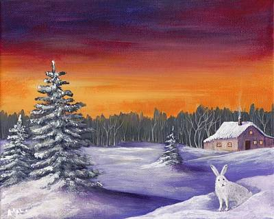 Snow Painting - Winter Hare Visit by Anastasiya Malakhova