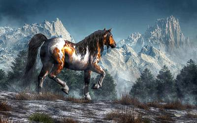 Pinto Digital Art - Winter Horse by Daniel Eskridge