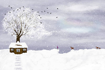 Snow Drifts Digital Art - Winter Illustration by Nika Lerman