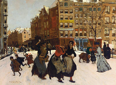 Snowball Fights Painting - Winter In Amsterdam by Georg Hendrik Breitner