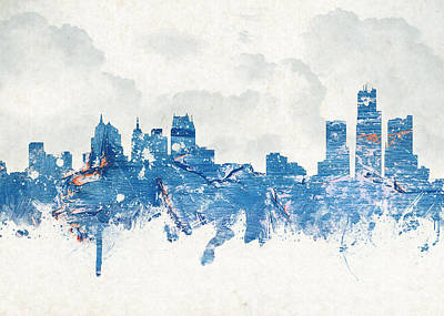 Michigan Theatre Digital Art - Winter In Detroit Michigan Usa by Aged Pixel