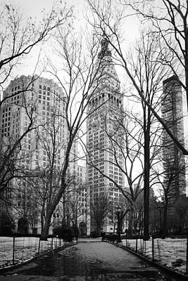 Snow Melt Photograph - Winter In Madison Square Park - New York City by Erin Cadigan