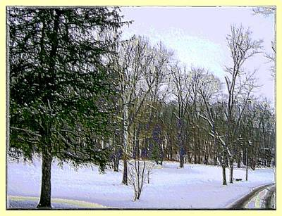 Digitally Manipulated Mixed Media - Winter In Purplish Hues by Skyler Tipton
