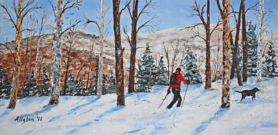 Winter In Vermont Woods Print by Stanton Allaben