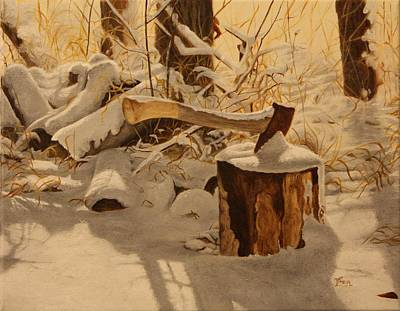 Snow Piles Painting - Winter Labour by Tammy  Taylor