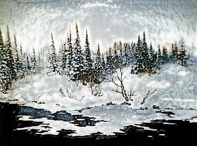 Snow-covered Landscape Painting - Winter Lake Sunset 2 by Hanne Lore Koehler