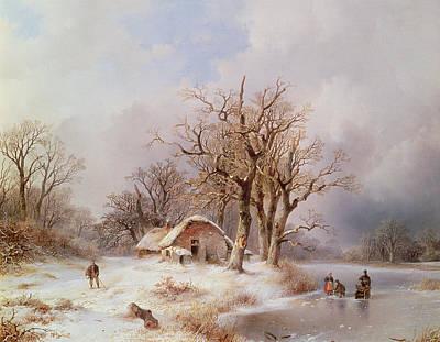 Winter Landscape Print by Remigius van Haanen