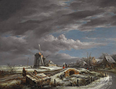 Footbridge Painting - Winter Landscape With Figures On A Path by John Constable