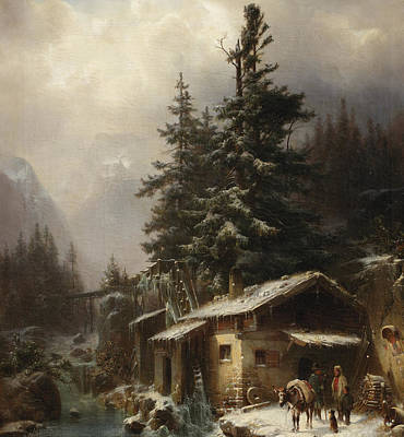 Dogs In Snow Painting - Winter Landscape With Figures Resting Near A Water Mill by Heinrich Hofer