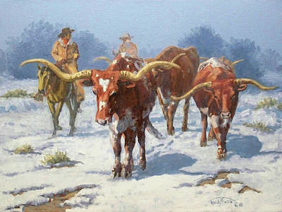Winter Longhorns Print by Randy Follis