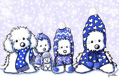 Cute Dog Digital Art - Winter Maltese Boys by Kim Niles