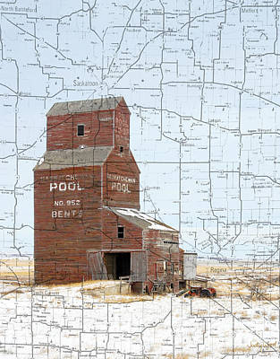 Judy Wood Digital Art - Winter Map by Judy Wood