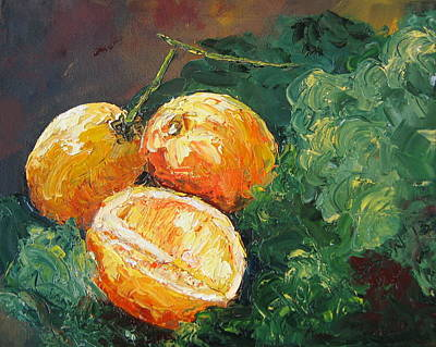 Susan L Richardson Art Painting - Winter Meyer Lemons And Kale by Susan Richardson