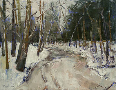 Impasto Oil Painting - Winter Creek by Michael Creese