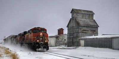 Winter Mixed Freight Through Castle Rock Print by Ken Smith