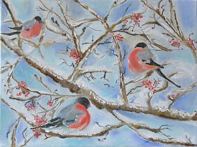 Bullfinches On Snowy Tree Branches  Original by Katerina Iourashevich Ricci