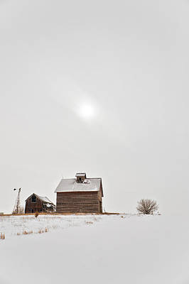 Red Barn In Winter Photograph - Winter Moon by Tom Phelan