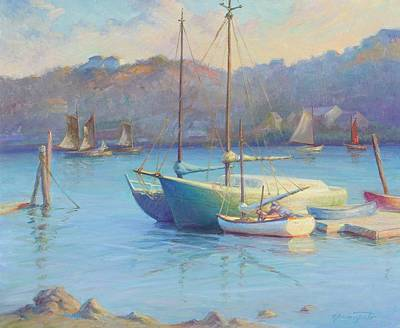 Rockport Painting - Winter Mooring Gloucester by Ernest Principato